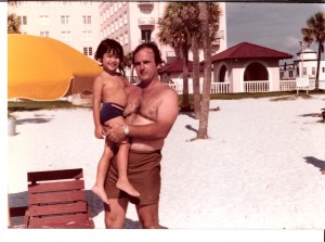 The author and his dad on the beach, 1977.